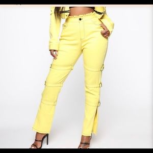 Yellow street style jeans